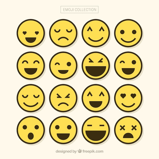Minimalist set of emojis Free Vector