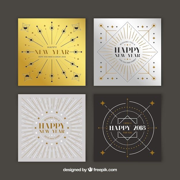 minimalist silver and golden new year 2018 cards free vector