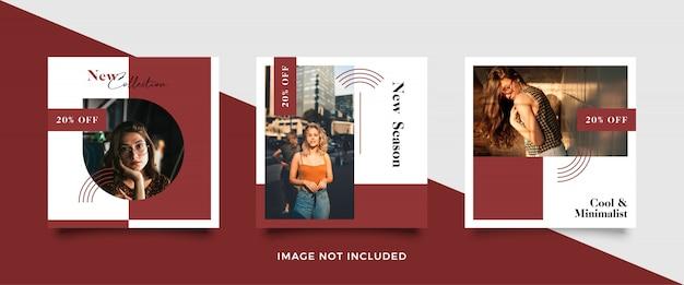 Minimalist social media post template collection Premium Vector