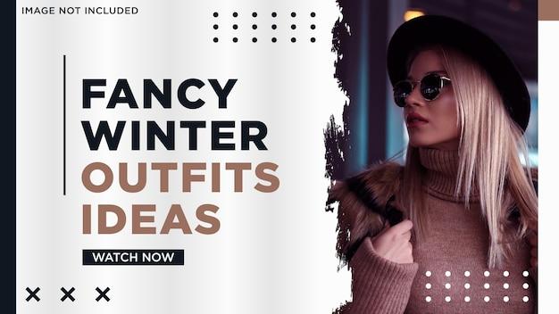 Minimalist social media thumbnail winter fashion with splash style Premium Vector