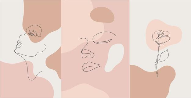 Minimalist style portrait. line flower, woman portrait. hand drawn abstract feminine print. Premium