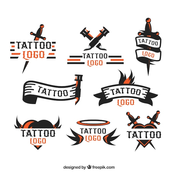 Minimalist tattoo logo collection Free Vector
