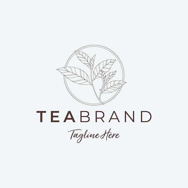 Минималист чайный лист логотип иллюстрации Premium векторы