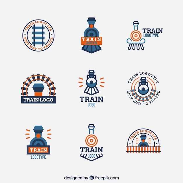 Minimalist train logo collection Free Vector