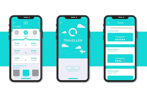 Minimalist travel booking app interface template Free Vector