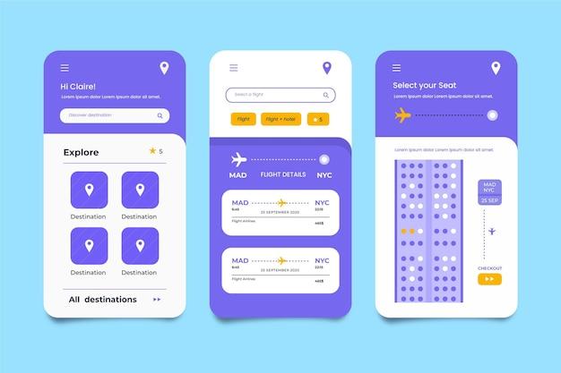 シンプルな旅行予約アプリ 無料ベクター