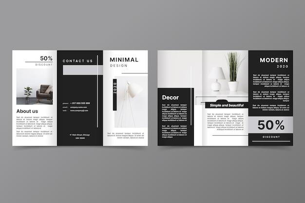 Minimalist trifold brochure template Free Vector