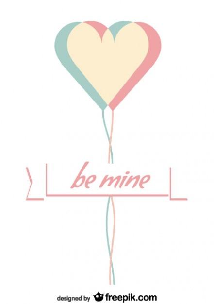 Minimalist Valentine's Day Card Design Free Vector