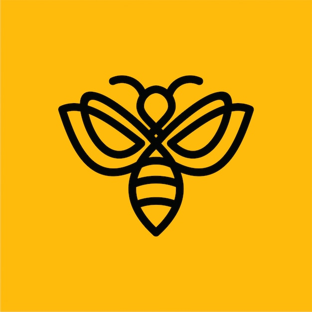 Minimalist vector premium bee line logo Premium Vector