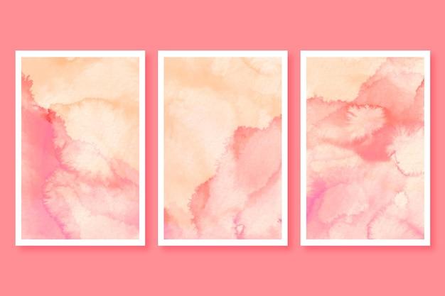 Set di carte acquerello minimalista Vettore gratuito
