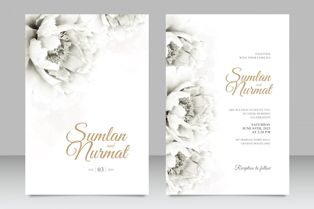 Minimalist wedding card set template with peonies watercolor Premium Vector
