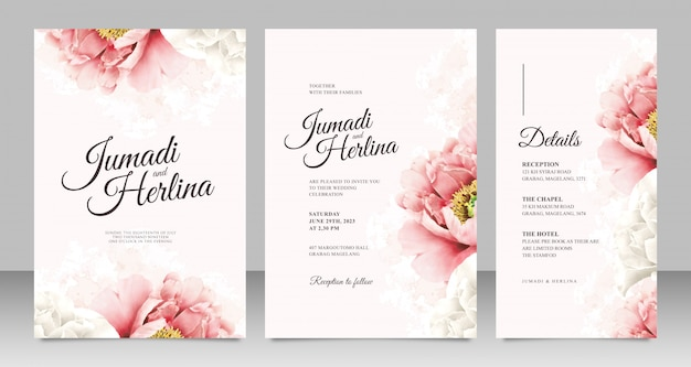 Minimalist wedding card template with realistic peonies Premium Vector