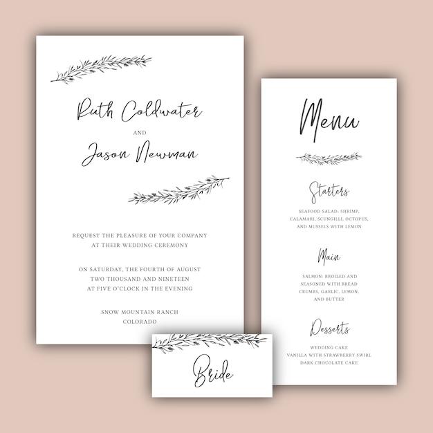 Minimalist wedding cards set with botanical illustrations vector minimalist wedding cards set with botanical illustrations free vector stopboris Images