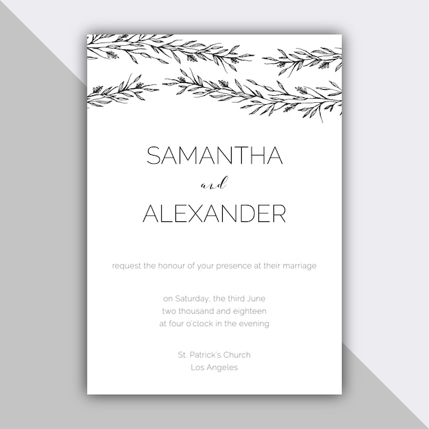 Free Vector Minimalist Wedding Design With Hand Drawn Elements