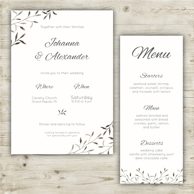 Minimalist wedding invitation and menu Free Vector