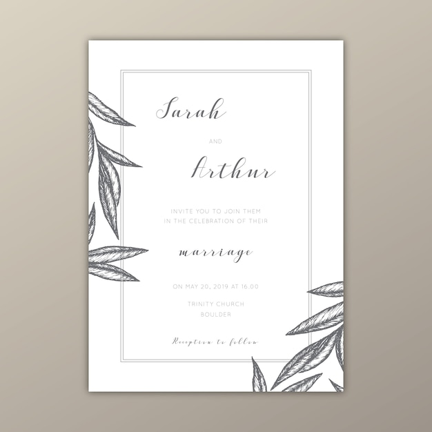 Minimalist Wedding Invitation Template With Illustrations Free Vector