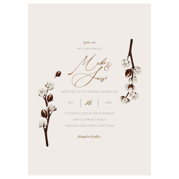 Minimalist wedding invitation template. Premium Vector