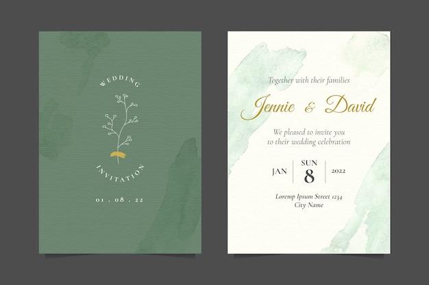 Minimalist wedding invitation with simple botanical line art illustration Premium Vector