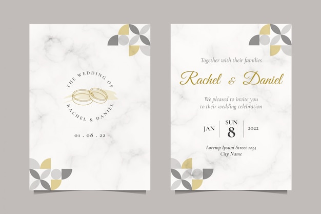 Minimalist wedding invitation with simple wedding ring line art illustration Premium Vector
