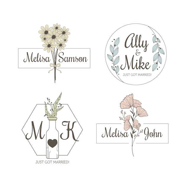 Minimalist wedding monograms in pastel colors collection Free Vector