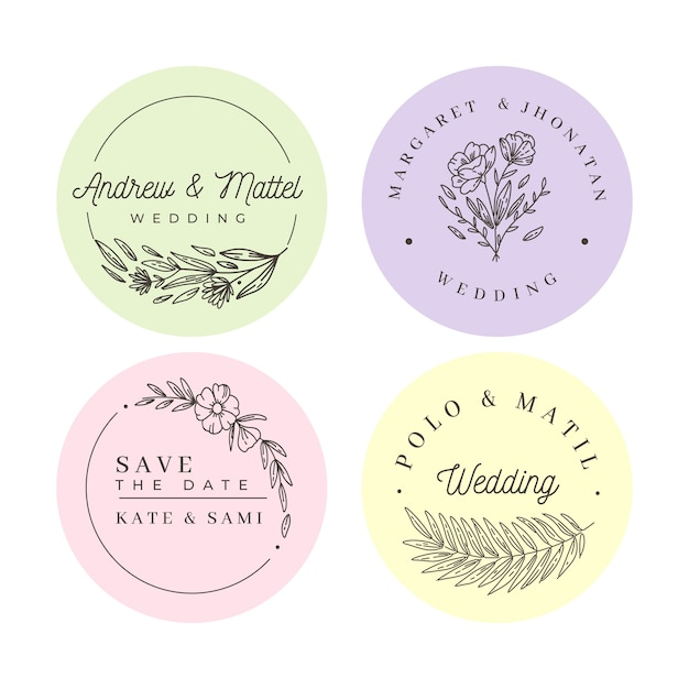 Minimalist wedding monograms in pastel colors collection Free Vector