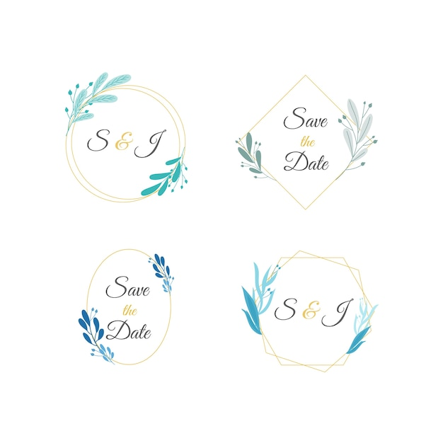 Minimalist wedding monograms in pastel colors set Free Vector