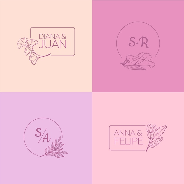 Minimalist wedding monograms in pastel colors Free Vector