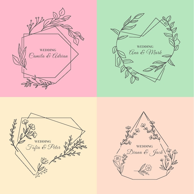 Minimalist wedding monograms in pastel colours Free Vector