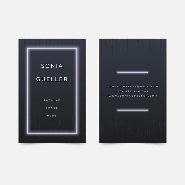 Минималистичный шаблон визитной карточки с белым неоновым светом Premium векторы