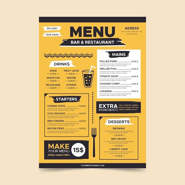 Minimalist yellow menu page template Free Vector