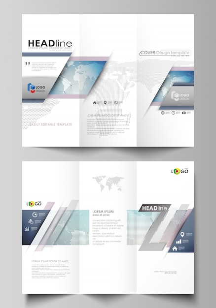 Minimalistic abstract editable layout of two creative tri-fold brochure covers Premium Vector