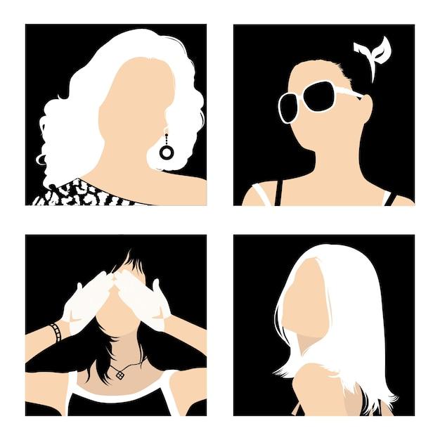 Минималистичные аватарки модных девушек на черном фоне Premium векторы