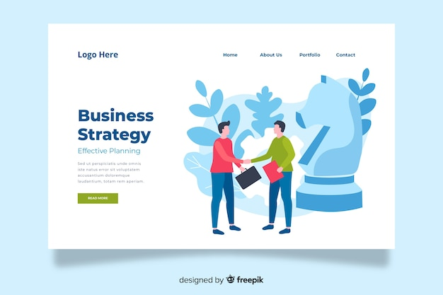 Minimalistic business strategy landing page Free Vector
