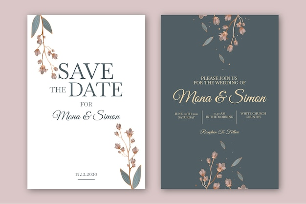 Minimalistic floral wedding invitation template Premium Vector