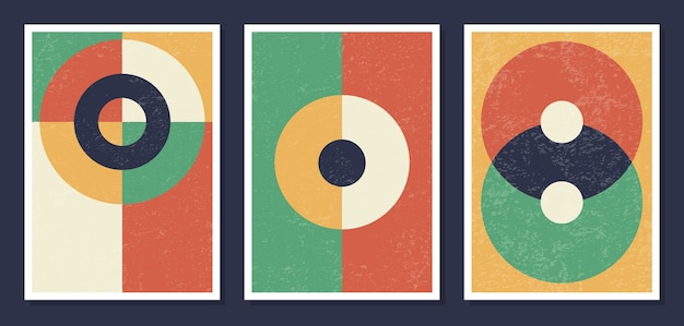 Minimalistic geometric art wall posters Premium Vector
