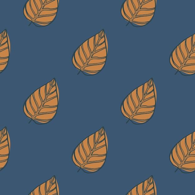 Минималистичный рисованной контурные листья бесшовные модели. осенний принт с фигурами оранжевой листвы Premium векторы