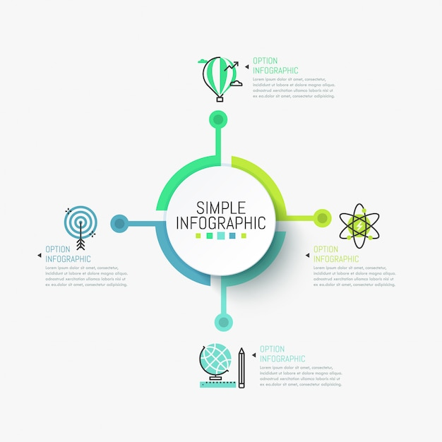 Minimalistic infographic template. central round element connected with four colorful icons and text boxes Premium Vector