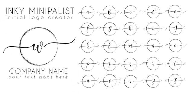 Minimalistic inky initial logo letter template Premium Vector