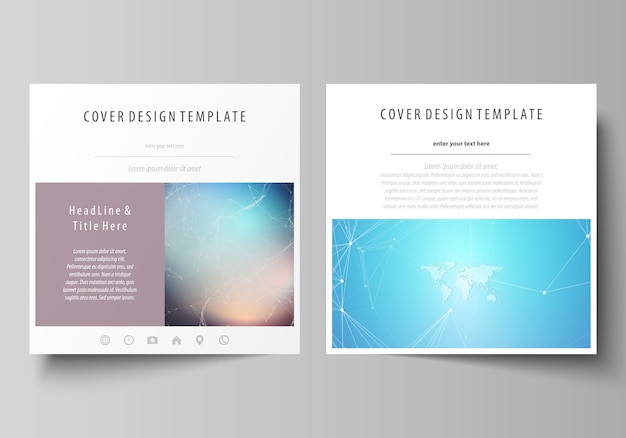 The minimalistic layout of two square format covers templates Premium Vector
