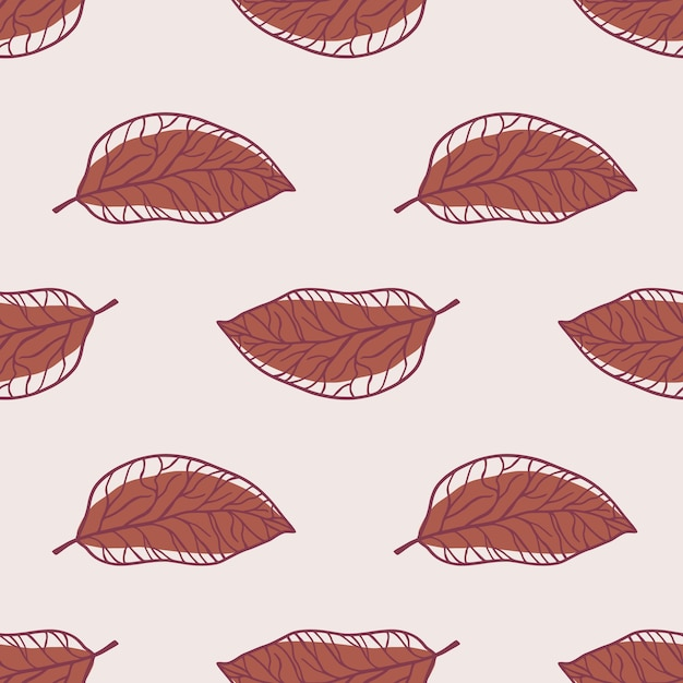 Minimalistic outline leaves seamless pattern. maroon pale colored ornament on light background. Premium Vector