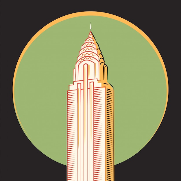 Minimalistic vector, the chrysler building, new york Premium Vector