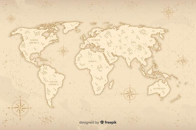 ビンテージデザインのミニマルな世界地図 無料ベクター
