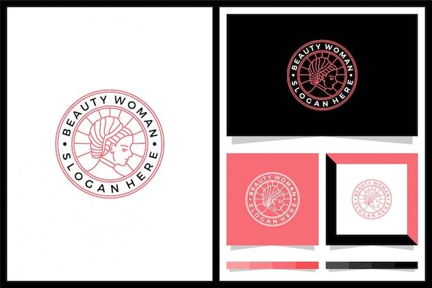 美容女性minimlaisロゴデザイン Premiumベクター