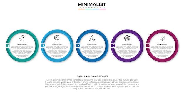 Minimslistインフォグラフィックラベルデザインテンプレート Premiumベクター