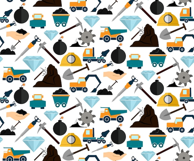 Mining and mineral excavation equipment and\ machinery seamless pattern vector illustration