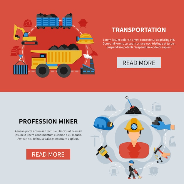 Mining banners set Free Vector