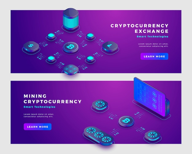Mining bitcoin and cryptocurrency exchange concept banner template. Premium Vector