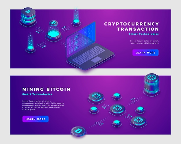 Mining bitcoin and cryptocurrency transaction concept banner template. Premium Vector