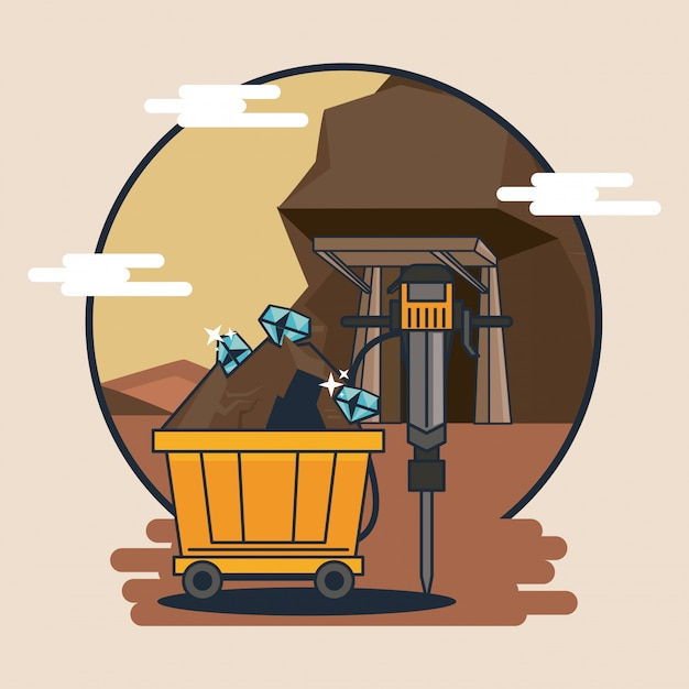 Mining cart and tools Premium Vector