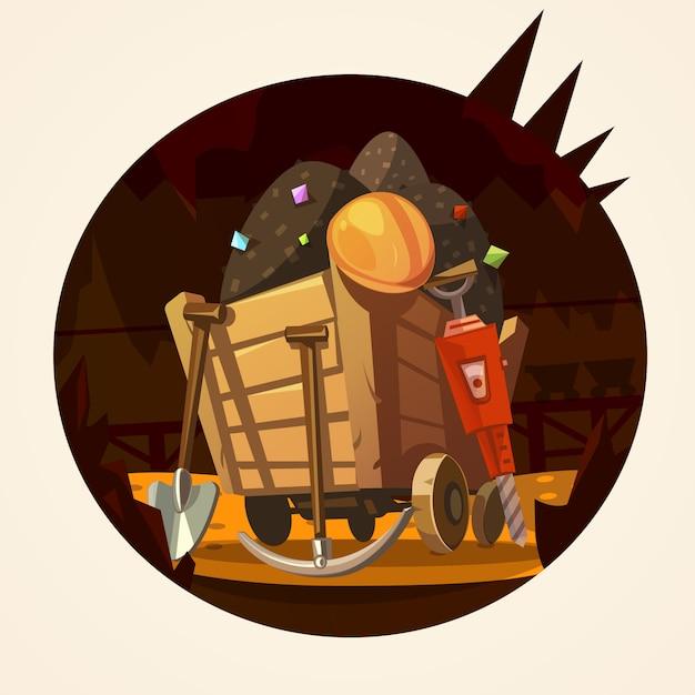 鉱山の漫画のイラスト 無料ベクター